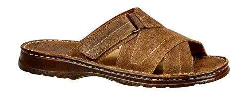Calzature vera pelle di bufalo scarpe con forma ortopedica comodi sandali da uomo 865 (beige, 45 eu)