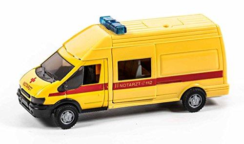 Einsatzfahrzeug-Modell 1:48 mit Sirene, Warnlicht, Schiebetür und AHK, Länge 17 cm, lieferbar als Feuerwehr, Polizei oder Notarztwagen (Gelb Notarzt)