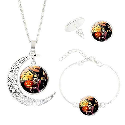 Y-XM Halloween-Juwel Halbmond Halskette 3 Stück Set Glas Juwel Kürbis Licht A 2