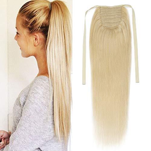 """TESS Pferdeschwanz Extensions Echthaar Ponytail Clip in Extensions Echthaar Zopf Haarverlängerung günstig 20""""(50cm)-95g #613 Blond"""
