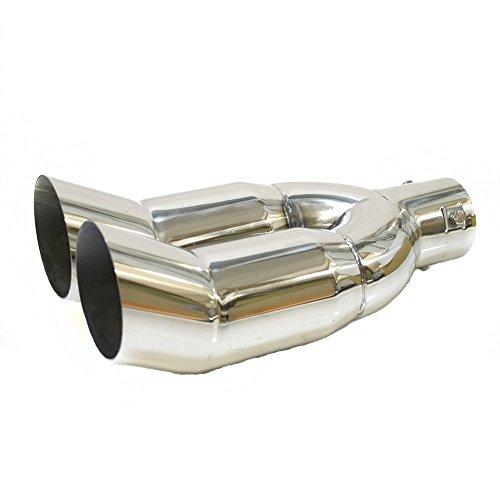 Autohobby 0007 - Deflettore di scarico universale, a doppio terminale, per tubo di scappamento, in acciaio INOX, fino a 56 mm, cromato, A B C G H J CC 3 4 5 6 7