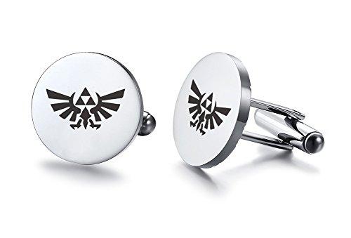 Vnox Herren Edelstahl Die Legende Zelda Triforce Manschettenknöpfe Shirt Stud für Hochzeit Engagement Valentine Geschenk,Silber