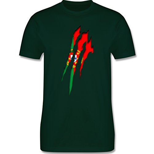 Länder - Portugal Krallenspuren - Herren Premium T-Shirt Dunkelgrün