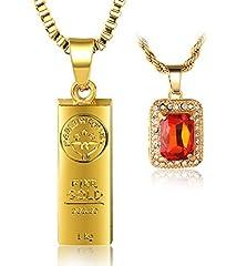 Idea Regalo - Halukakah IN GOLD WE TRUST Uomo Maschile 18K 18 Carati Placcato Oro Reale Lingotto d'oro Rosso Rubino Pendente Collana 2 Chainz Set con Catena di Scatole 30