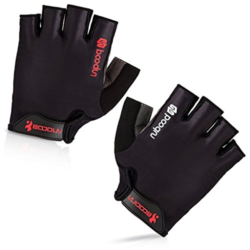 iCreat Damen / Herren Kurze Rennrad Handschuhe Power Fahrrad Active Gloves mit Geleinlage Schwarz, Größe XL