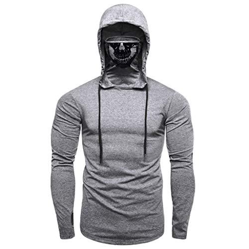 farbig Shirt | Kordelzug Oberteile | Mit Schädel Maske Tops | Basic T-Shirt | Slim Fit Sweatshirt | Mode Elegante Langarmshirt Trainingsanzüge ()