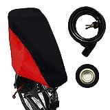 MadeForRain 2in1 Kombi-Regenschutz für Fahrradkindersitz und Sattel mit Diebstahlschutz CityFrog 2in1 AntiTheft - Tiefschwarz/Tomatenrot