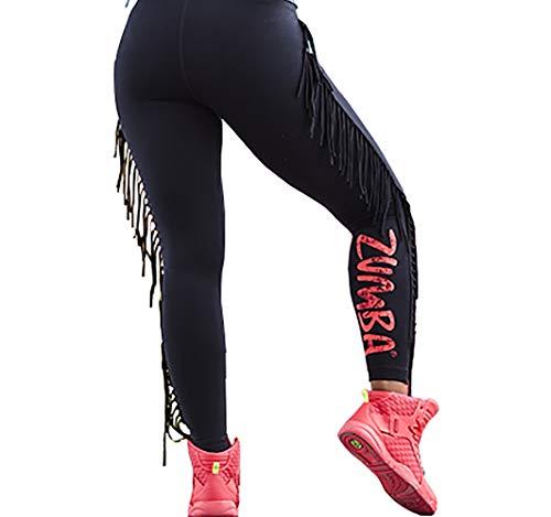 ions-Leggings mit breitem Taillenbund, sportlicher Aufdruck, Capri-Leggings, Damen, Women's Wide Waistband Print Legging with Compression, Black Fringe, XX-Large ()