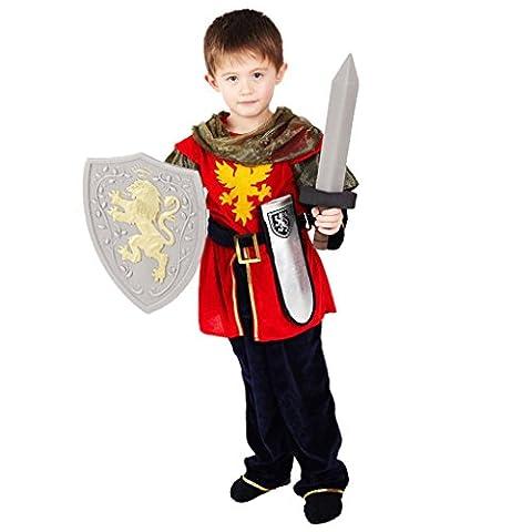 Ritter Verkleidung für Jungen - Hochwertiges, mittelalterliches Kinder Kostüm Set mit Schwert, silberner Scheide und Schild - für Kinder von 4-5 Jahren 104-110 (Ritterschild Kostüm)