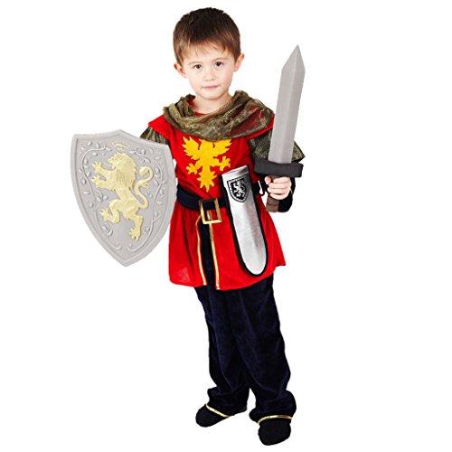 Ritter Verkleidung für Jungen - Hochwertiges, mittelalterliches Kinder Kostüm Set mit Schwert, silberner Scheide und Schild - für Kinder von 6-7 Jahre 116-122 cm