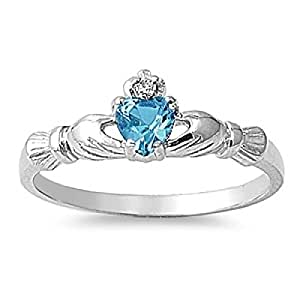 925 Sterling Silver Claddagh Ring Cubic Zirconia Ring (B)