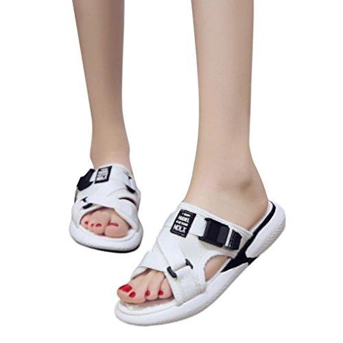 MOIKA Damen Strandschuhe, Mode Sommer Atmungsaktive Flache Anti Skidding Schuhe Offene Toe Strand Sandalen(EU36,Weiß