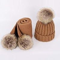 HAOLIEQUAN Luxus Kinder Pompon Strickmützen Hut Schal Winter Junge Mädchen Verdicken Weiche Kappe Schals Nette Baby Warme Kinder