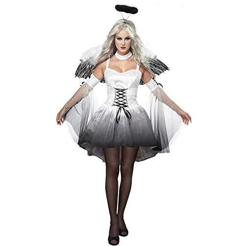 Dark Kostüm Angel Wing - ZHANGY Halloween Cosplay Kleid Dark Angel Wings Kostüm Karneval Party Ghost Vampire Frau Mesh Sexy Kleid Haarband,White,XXL
