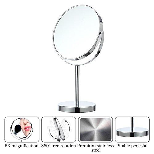 Lintimes Kosmetikspiegel, 5-fache Vergrößerung, 17,8 cm, für Badezimmer, Schlafzimmer, Rasierspiegel, doppelseitig, Chrom -