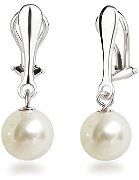 Schöner-SD Perlen Ohrclips Hänger Clip Ohrringe 925 Silber mit runden Perlen