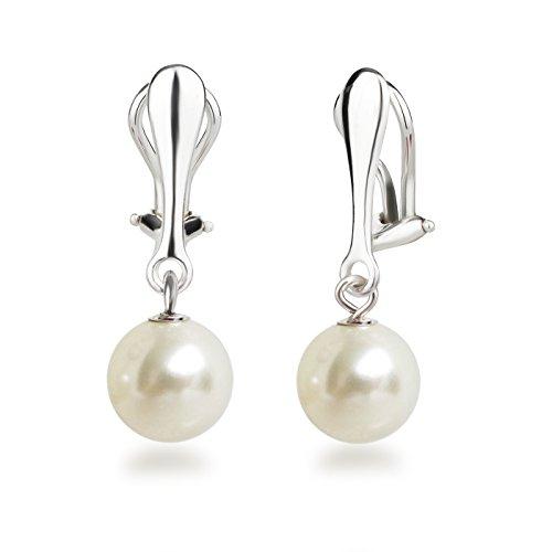 Schöner-SD Perlen Ohrclips Hänger Clip Ohrringe 925 Silber mit runden Perlen 10mm cremeweiß