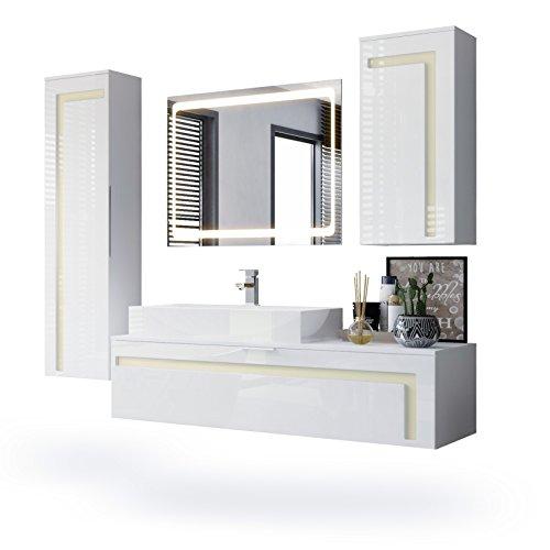 Perlmutt Waschbecken (Badmöbel Komplettset Aloha, Korpus in Weiß matt / Fronten in Weiß Hochglanz mit Absetzungen in Creme Hochglanz, mit Aufsatzwaschbecken und LED Spiegel)