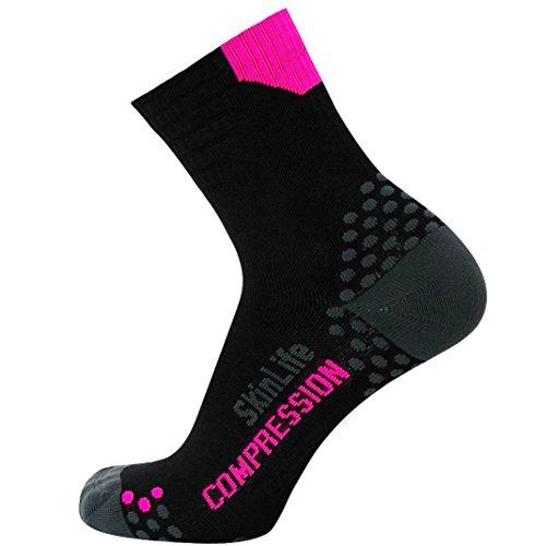 Pure Compression Running Socken-Anti-Blasen-Quarter Länge Sport Socken-DOT Polsterung Technologie, Herren Damen Unisex-Erwachsene, Black/Neon Pink, Small/Medium -