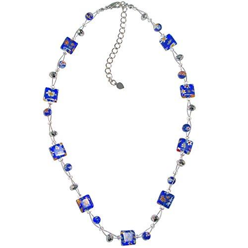 Signore Chic-Net collana Perle di Murano fiori di vetro di rettangolo perle di vetro blu argento 42-48 cm nickel free