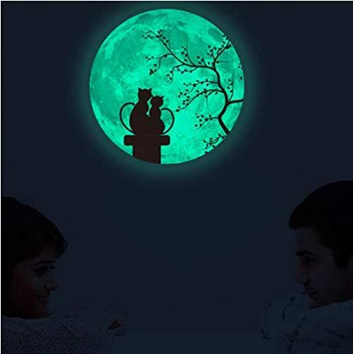 Dekorative Fluoreszierende Leuchten (Mond fluoreszierende Wandaufkleber Paar leuchten dekorative Aufkleber PVC wasserdicht leuchtenden Mond 30 * 30cm)