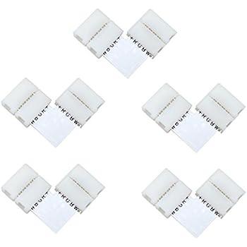 5pcs RGBW Connector Supernight 90 Degree LED Strip Connectors 5 Pin L Shape for 10mm Wide SMD 5050 2835 RGBW//RGBWW LED Strip Lights PCB LED Corner Connector Kit