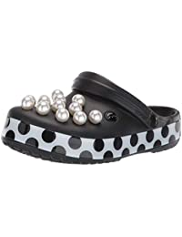 3c38a1b7fc99 Crocs Crocband Timeless Clash Pearl Relaxed Fit Clogs Shoes in Black   White  Print Polka Dots