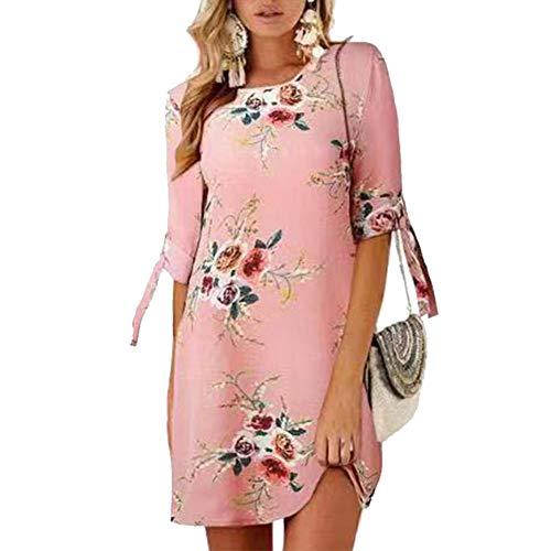 Duevin Frauen Midi Maxi Kleid Runder Kragen Halbarm Kleid Floral Print (M-Weiß) -