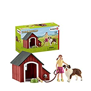 Schleich- Colección Farm World Set de Figuras de Caseta, Niña y Perro Pastor Australiano, 19 cm, Multicolor (42376)