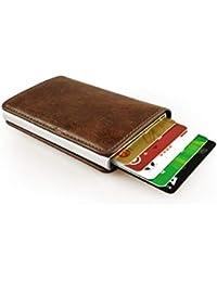 sciuU Cartera Tarjeta de Crédito, Bloqueo RFID, Cartera de Aleación de Aluminio Multiuso Bolsillos, Cuero PU Exterior.