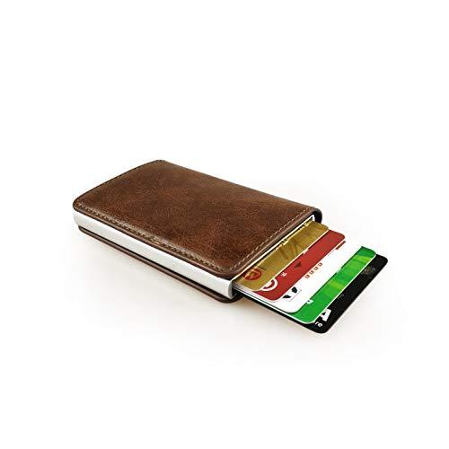 sciuU Cartera Tarjeta de Crédito, Bloqueo RFID, Cartera de Aleación de Aluminio Multiuso Bolsillos, Cuero PU Exterior automáticas desplegables