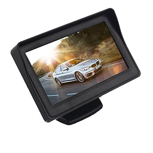CarFrill Car Rear View Screen 180 Degree Rotatable TFT LCD Monitor 4.3 inch with High Definition HD Number Plate Camera