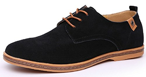 Men's Suede Leather Black Lace Up Oxford Shoes Black