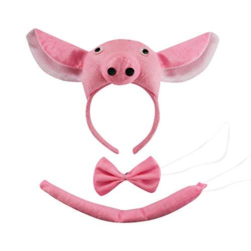 Kostüm Nase Machen Schwein - Amosfun Schwein Ohren Kostüm Stirnband mit Fliege und Schwanz Schwein Kostüm Zubehör Aprilscherz Kinderparty Dekoration Party Cosplay