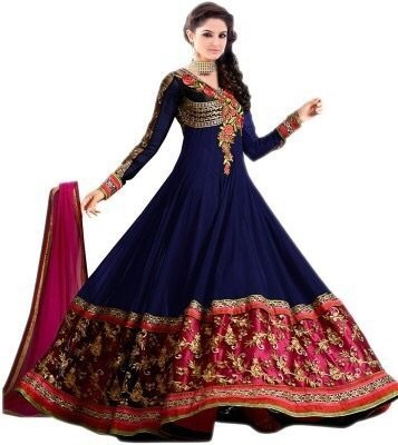 Fashion Dream Women\'s Georgette Semi Stitched Salwar Suit (fd_-Sainx Blue_Blue_Free Size)