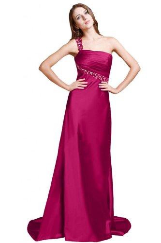 Sunvary Sexy abito da sera A una Line-spalla raso Prom Dress rosa fucsia