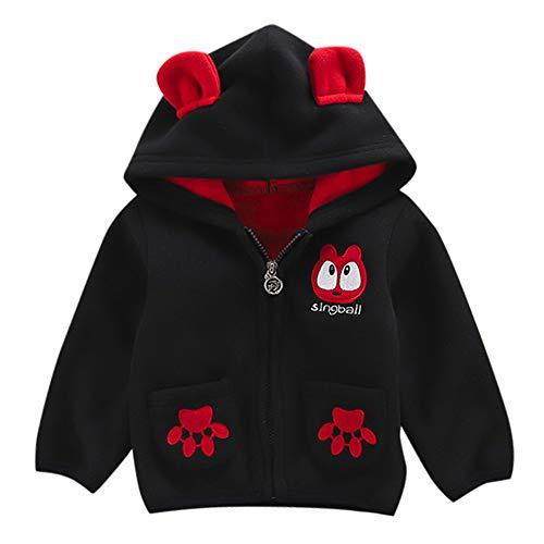 FeiliandaJJ Baby Jacken Jungen Mädchen Fleecejacken Kinder Winterjacke Mit Kapuze Mantel Oberteile Warme Kleidung Günstige Babyjacken (80 (6~12Monate), Schwarz)