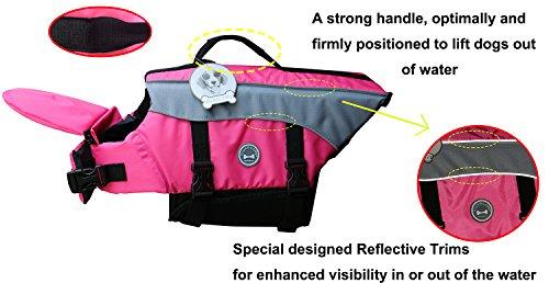 Vivaglory Dog Life Jacket Adjustable Buckle Dog Safety Vest Pet Lifesaver Coat 3