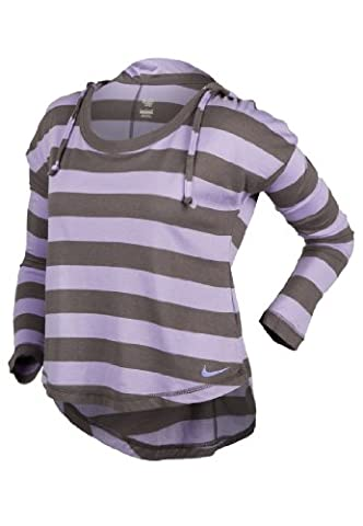 Nike Ladies Hooded Long Sleeve T-Shirt Purple & Grey Striped (Medium)