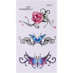 Rrimin 10pcs 3D Butterfly Flower Temporary Tattoo Stickers Waterproof Body Art (S046)