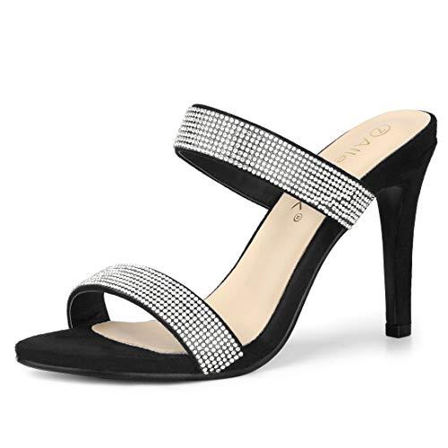 Allegra K Damen Peep Toe Stiletto Strass Mules Sandalen Schwarz 39 EU/Label Size 8 US 6 3/4 Zoll Sexy