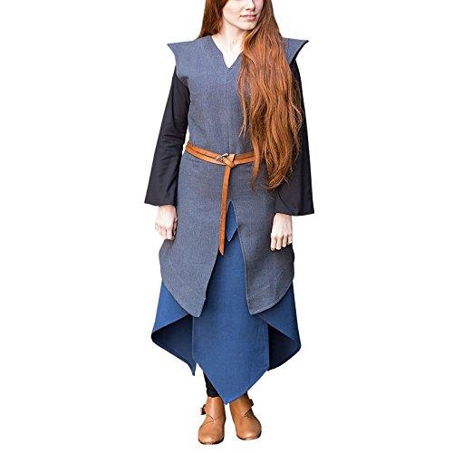 Burgschneider Túnica Medieval para Mujer Eryn Gris algodón - S
