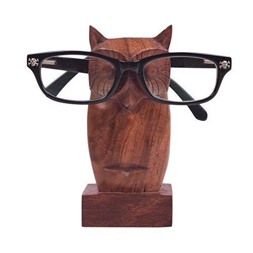 Hand geschnitzter Rosenholz Eule geformte Schlüsselanhängerform Brillenhalter Ständer Store Indya Geschenke (Brillen-halter Eule)