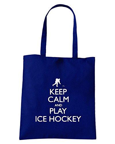 T-Shirtshock - Borsa Shopping SP0098 Keep Calm and Play Ice Hockey Maglietta Blu Navy