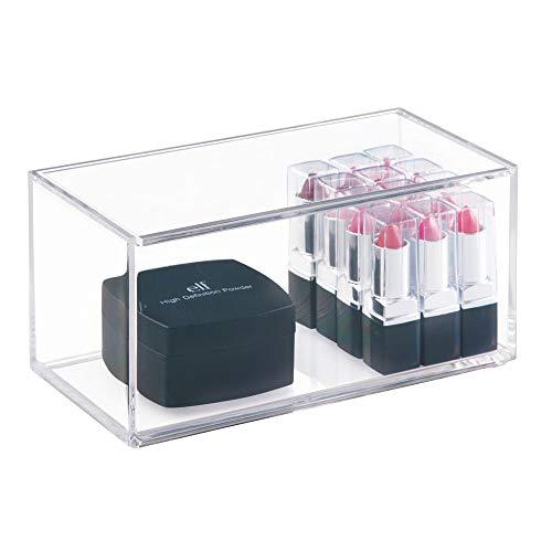 iDesign Make-up Organizer mit Deckel, mittelgroße Kosmetik Aufbewahrung aus BPA-freiem Kunststoff, stapelbarer Kosmetik Organizer für Schminke, durchsichtig (Acryl-box)