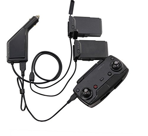 �t Autoladegerät Adapter für DJI Mavic Air Drohne kfz Batterien und Fernbedienung Ladestation HUB USB (Für 2 Batterien und Fernbedienung) ()