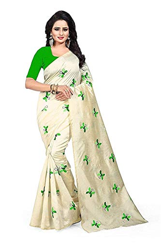 PRAMUKH STORE Women's Bangalore Silk Embroidered Saree with Unstitched Blouse Piece, Free Size(Cream, TITALI GREEN)