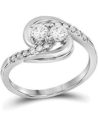 Anillo de compromiso de oro blanco de 10 quilates con diamantes redondos y corazones de 2