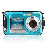 Doble Pantalla de la cámara subacuática HD Impermeable sesión fotográfica Deportes de grabación de vídeo de Buceo LED Flash de la cámara de vídeo Digital