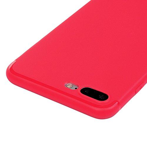 KASOS Coque iPhone 7 Plus, Coque Housse Case Bumper Étui Coque de Protection en TPU Silicone Souple Ultra Hybrid Ultra Slim Mince Léger Ajustement Parfait Antichoc Housse iPhone 7 Plus Coque Case Rose Rouge